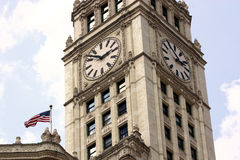 Tour d'horloge de construction de Chicago Wrigley Image libre de droits