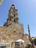 Tour d'horloge de Roloi dans la vieille ville de Rhodes La Grèce images libres de droits