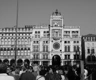 Tour d'horloge de St Mark à Venise en noir et blanc Photo libre de droits