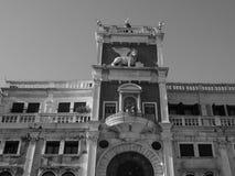 Tour d'horloge de St Mark à Venise en noir et blanc Images libres de droits
