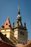 Tour d'horloge médiévale dans le lieu de naissance de Draculas Images libres de droits