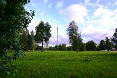 Tour d'Ostankino au-dessus du champ Image libre de droits