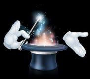 Tour de baguette magique de magicien et de premier chapeau illustration de vecteur