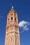 Tour de Bell de style mauresque d'église de San Andres Calatayud, Zara image stock