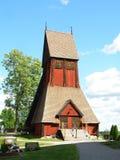 Tour de Bell en bois unique de la vieille église dans Gamla Upsal, Upsal, Suède Images libres de droits