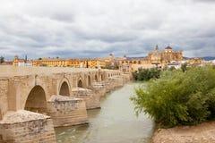 Tour de Calahorra et le pont romain Cordova l'espagne Images libres de droits