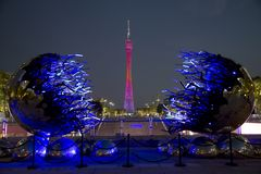 Tour de canton dans des scènes de nuit de Guangzhou Chine images libres de droits