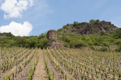 Tour de château sur la rivière la Moselle Images libres de droits