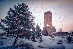 Tour de Chindia, Roumanie en hiver très froid photos stock
