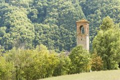 Tour de cloche italienne d'Alpes Images libres de droits