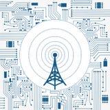 Tour de communication et circuit de l'électronique illustration stock