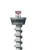 Tour de contrôle d'aéroport d'isolement sur le fond blanc Photo stock