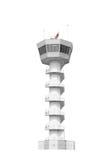 Tour de contrôle du trafic aérien d'isolement sur le fond blanc avec l'agrafe Photo libre de droits