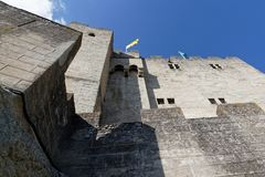 Tour de Crest walls. Tour de Crest Crest Tower is the imposing vestige of an old castle, in the Drome region of South of France royalty free stock photos