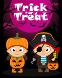 Tour de fond de vecteur de Halloween ou traitement avec des enfants Photos stock