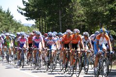 Tour de France. Competitors just before the climbing of the Mount Ventoux Royalty Free Stock Images