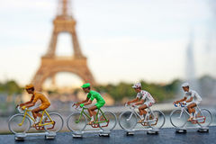 Tour de France. Yellow, Green, white and polka dot jersey with the eifel tower on the background stock image