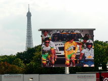 Tour de France 2. Screen showing finish of the Tour de France 2006 in Paris, France. Eiffel Tower in background Stock Photo