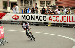 Tour de France 2009 Monaco. A time trial cyclist in Monaco time trial in 2009 Tour de France Royalty Free Stock Image