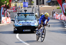 Tour de France 2009 Monaco. A time trial cyclist in Monaco time trial in 2009 Tour de France Royalty Free Stock Photos