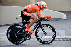 Tour de France 2009 Monaco. A time trial cyclist in Monaco time trial in 2009 Tour de France Royalty Free Stock Images