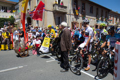 Tour de France. SAMATAN, FRANCE- JULY 16: Cyclists at the departure of the 15th stage of the Tour de France, from Samatan to Pau, on July 16, 2012 in Samatan Stock Photo