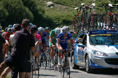 Tour de France. Mountain stage in the alps tom boonen green jersey Stock Images