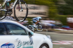 Tour de France Abstract. Illiers Combray, France, July 21st 2012: Defocused and blurred image of a technical assistance car (Omega Pharma-Quick Step Team) Royalty Free Stock Photos