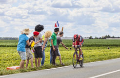 Tour de France Action. Beaurouvre,France,July 21st 2012:The German cyclist Marcus Burghardt from  BMC  Team pedaling during the 19th stage of Le Tour de France Stock Image