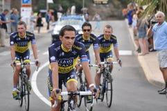 Tour de France 2013, banco de Saxo Fotografía de archivo libre de regalías