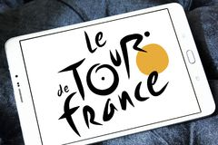 Tour de France bicycle race logo. Logo of Tour de France on samsung tablet. Tour de France is an annual male multiple stage bicycle race primarily held in France Stock Photo
