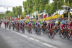 Tour de France 2017 Champs-Elysees. Paris, France - July 23, 2017: Group of cyclists on Avenue des Champs-Elysees for the final stage of the Tour de France 2017 stock photography