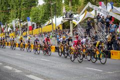 Tour de France 2017 Champs-Elysees. Paris, France - July 23, 2017: Group of cyclists on Avenue des Champs-Elysees for the final stage of the Tour de France 2017 stock images