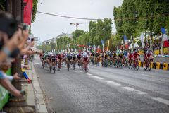 Tour de France 2017 Champs-Elysees. Paris, France - July 23, 2017: Group of cyclists on Avenue des Champs-Elysees for the final stage of the Tour de France 2017 stock photo
