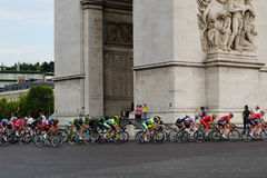 Tour de france, competition in Paris. Peloton. Final circle. Royalty Free Stock Photos