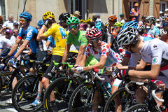 Tour de France, departure. SAMATAN, FRANCE- JULY 16: Cyclists at the departure of the 15th stage of the Tour de France, from Samatan to Pau, on July 16, 2012 in Royalty Free Stock Images