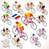 Tour de France emballant le chemin de bicyclette d'équitation de groupe de cycliste Photo libre de droits