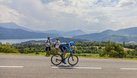Tour de France Landscape. Chorges, France- July 17, 2013: The Scottish cyclist David Millar from Garmin-Sharp Team pedaling during the stage 17 of 100th edition Royalty Free Stock Photo