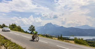 Tour de France Landscape. Chorges, France- July 17, 2013: The Slovenian cyclist Kristijan Koren from Cannondale Team pedaling during the stage 17 of 100th Stock Images