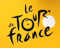 Tour de France logo. On a yellow background Stock Photo