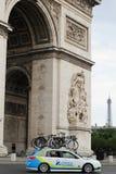 Tour de France, Paris, France. Sport competitions. Technical car. Tour de France, Paris, France. Sport competitions. Technical car orica with bikes Royalty Free Stock Photo