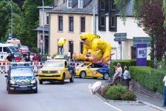 Tour de France 2017 procession passing by Wiltz, Luxembourg Stock Photo