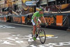 Tour De France - przyjazdowy cyklista Zdjęcia Royalty Free