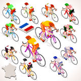 Tour de France racing cyclist group riding bicycle path. Tour de France 2016 racing cyclist group riding bicycle path. Vector cyclist icon. Cyclist icons. Flat Royalty Free Stock Photo