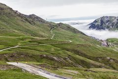 Tour de France Road around the Col du Tourmalet, France. Col du Tourmalet is the highest paved mountain pass in the French Pyrenees, located in the department of stock photography