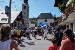Tour de France su un grande schermo Fotografia Stock