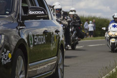 Tour De France 2014 Team Skoka Car. Stage 3 at Duxford on Stage 3 from Cambridge to London in Great Britain Royalty Free Stock Photo