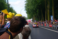 Tour de France at Tournai, guy waiting for the riders. Stock Images