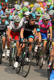 Bradley Wiggins. Tour de France winner and Olympic champion Bradley Wiggins rides with the pack during the Tour of Catalonia cycling race through the streets of Royalty Free Stock Images