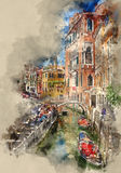 Tour de gondole par les beaux canaux à Venise illustration libre de droits